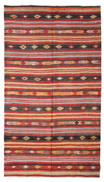Kilim Semi Antique Turkish Rug 180X322 Authentic  Oriental Handwoven Dark Red/Dark Brown (Wool, Turkey)