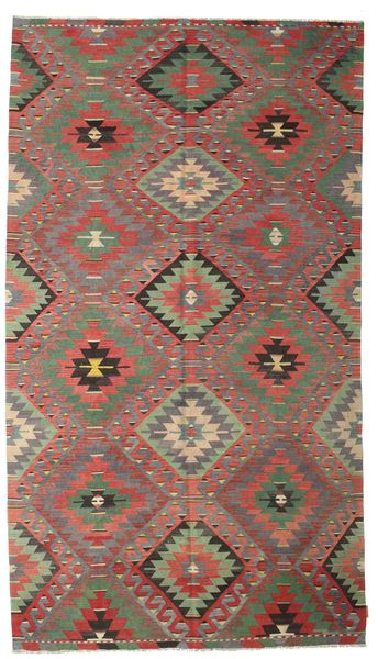 Kilim Semi Antique Turkish Rug 196X335 Authentic  Oriental Handwoven Light Brown/Dark Grey/Rust Red (Wool, Turkey)
