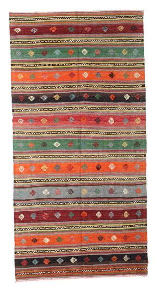 Kelim Semiantiikki Turkki Matto 160X321 Itämainen Käsinkudottu Tummanharmaa/Violetti (Villa, Turkki)