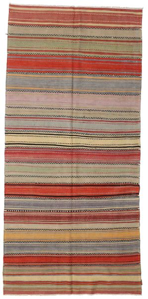 Kilim Semi Antique Turkish Rug 163X340 Authentic  Oriental Handwoven Light Brown/Dark Red (Wool, Turkey)