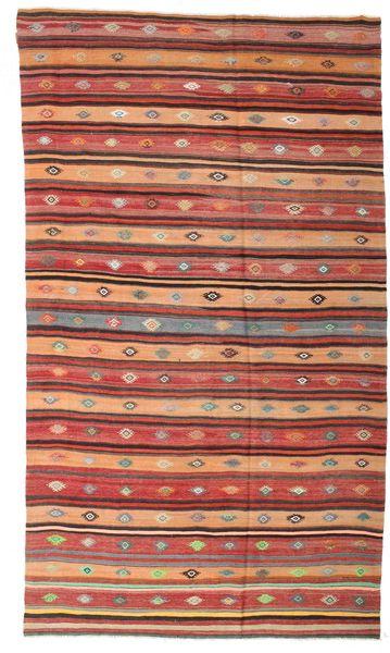 Kelim Semiantiikki Turkki Matto 204X348 Itämainen Käsinkudottu Tummanpunainen/Ruskea (Villa, Turkki)