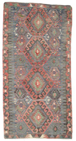 Kelim Semiantik Turkisk Matta 162X314 Äkta Orientalisk Handvävd Ljusbrun/Mörkgrå (Ull, Turkiet)