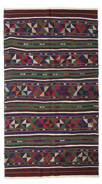 Kelim Semiantik Turkisk Matta 140X250 Äkta Orientalisk Handvävd Mörkröd/Mörkblå (Ull, Turkiet)