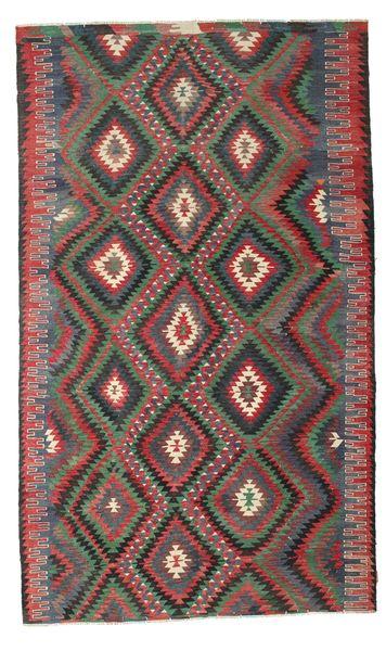Kelim Semiantiikki Turkki Matto 194X325 Itämainen Käsinkudottu Tummanharmaa/Tummanpunainen (Villa, Turkki)