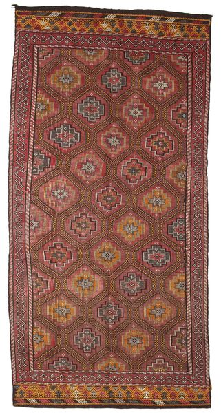 Kilim Semi Antique Turkish Rug 162X337 Authentic  Oriental Handwoven Brown/Dark Red (Wool, Turkey)