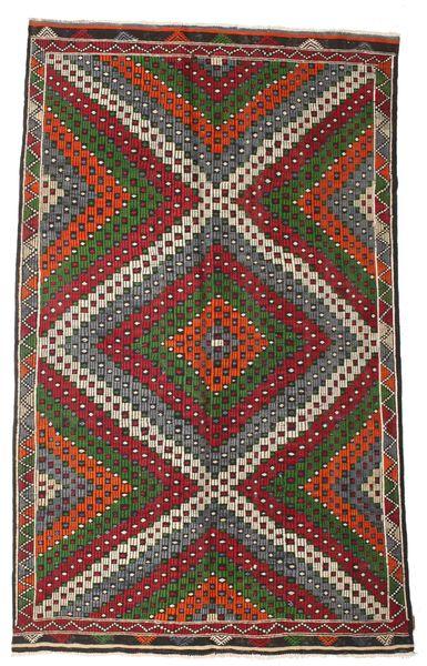 Kelim Semiantik Turkisk Matta 182X290 Äkta Orientalisk Handvävd Mörkbrun/Brun (Ull, Turkiet)