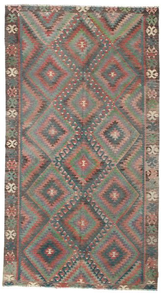 Kelim Semi-Antiek Turkije Tapijt 188X342 Echt Oosters Handgeweven Lichtbruin/Donkergrijs (Wol, Turkije)