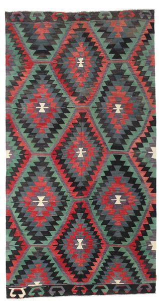 Kelim Halbantik Türkei Teppich  174X330 Echter Orientalischer Handgewebter Schwartz/Dunkelrot (Wolle, Türkei)