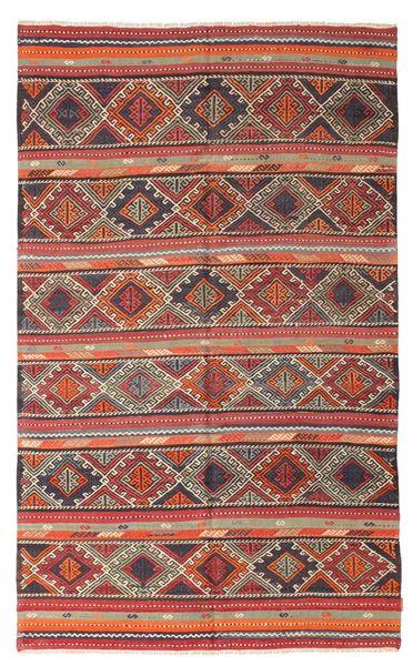 Kelim Semi-Antiek Turkije Tapijt 180X295 Echt Oosters Handgeweven Roestkleur/Donkerbruin (Wol, Turkije)