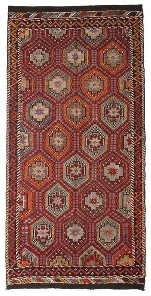 Kelim Semiantiikki Turkki Matto 167X341 Itämainen Käsinkudottu Tummanpunainen/Ruskea (Villa, Turkki)