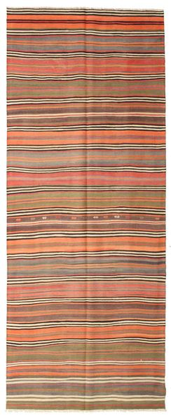 Kilim Semi Antique Turkish Rug 140X356 Authentic  Oriental Handwoven Hallway Runner  Brown/Orange (Wool, Turkey)