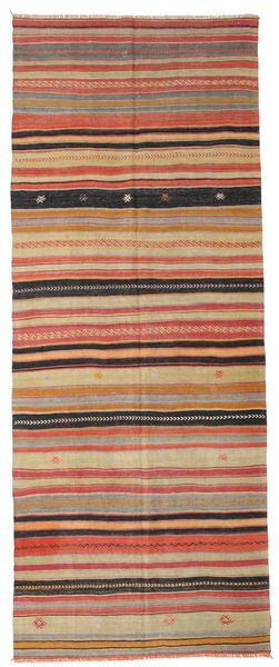 Kilim Semi Antique Turkish Rug 136X342 Authentic  Oriental Handwoven Hallway Runner  Light Brown/Brown (Wool, Turkey)