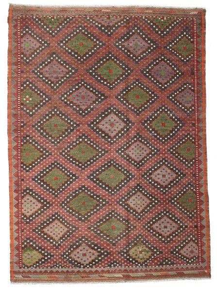 Chilim Semi-Antic Turcia Covor 206X284 Orientale Lucrate De Mână Roșu-Închis/Maro Închis (Lână, Turcia)