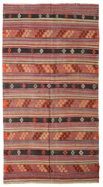 Kelim Semi-Antiek Turkije Vloerkleed 163X302 Echt Oosters Handgeweven Bruin/Donkergrijs (Wol, Turkije)