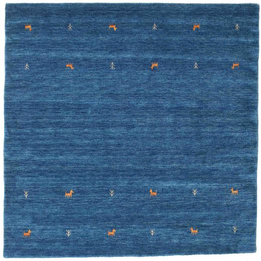 Gabbeh Loom Two Lines - Blue Rug 200X200 Modern Square Dark Blue/Blue (Wool, India)