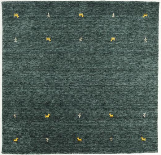 Gabbeh Loom Two Lines - Ciemnoszary/Zielony Dywan 200X200 Nowoczesny Kwadratowy Ciemnozielony/Ciemny Turkus (Wełna, Indie)