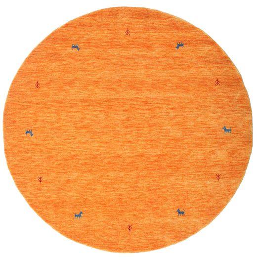 Gabbeh Loom Two Lines - Pomarańczowy Dywan Ø 200 Nowoczesny Okrągły Pomarańczowy (Wełna, Indie)