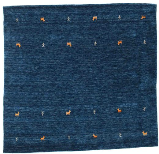Gabbeh Loom Two Lines - Mørk Blå Teppe 200X200 Moderne Kvadratisk Mørk Blå (Ull, India)
