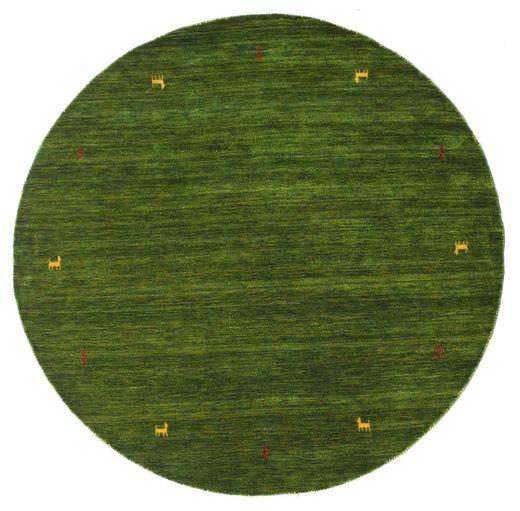 Gabbeh Loom Two Lines - Green Rug Ø 200 Modern Round Dark Green (Wool, India)