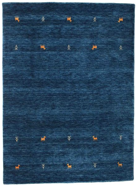 Gabbeh Loom Two Lines - Mørkeblå Tæppe 140X200 Moderne Mørkeblå (Uld, Indien)
