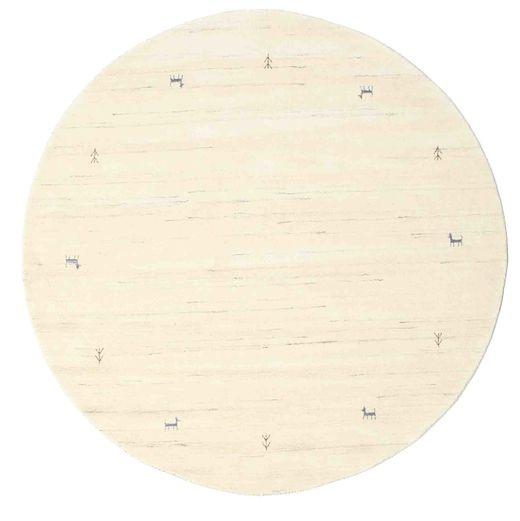 Gabbeh Loom Two Lines - Kość Słoniowa Dywan Ø 200 Nowoczesny Okrągły Beżowy/Biały/Creme (Wełna, Indie)