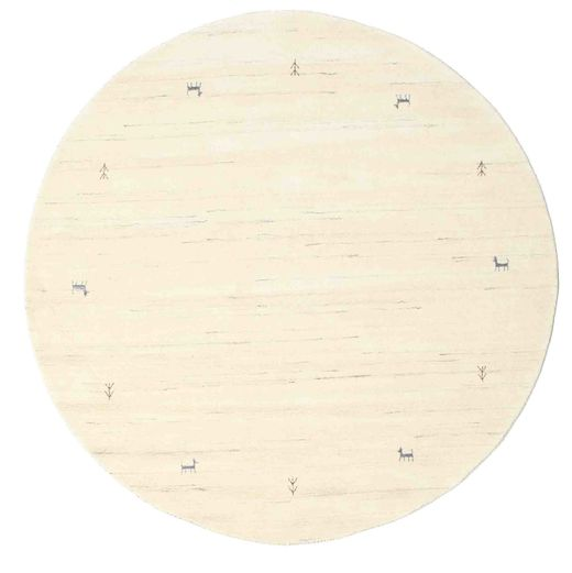 Gabbeh Loom Two Lines - Off White Rug Ø 200 Modern Round Beige/White/Creme (Wool, India)