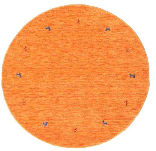 Gabbeh Loom Two Lines - Pomarańczowy Dywan Ø 150 Nowoczesny Okrągły Pomarańczowy (Wełna, Indie)
