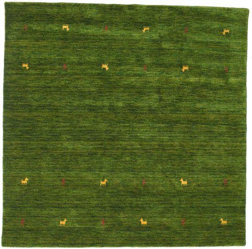Gabbeh Loom Two Lines - Grøn Tæppe 200X200 Moderne Kvadratisk Mørkegrøn (Uld, Indien)