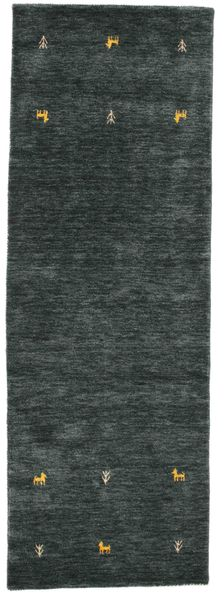 Gabbeh loom Two Lines - Dark Grey / Green carpet CVD15084