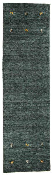 Gabbeh Loom Two Lines - Tmavošedý/Zelená Koberec 80X300 Moderní Běhoun Tmavě Zelený/Modrá (Vlna, Indie)