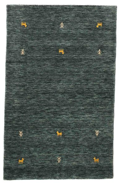 Gabbeh Loom Two Lines - Dark Grey/Green Rug 100X160 Modern Black/Dark Grey (Wool, India)
