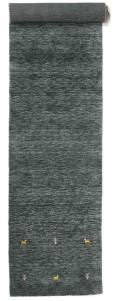 Gabbeh Loom Two Lines - Dark Grey/Green Rug 80X400 Modern Hallway Runner  Dark Green/Dark Turquoise   (Wool, India)