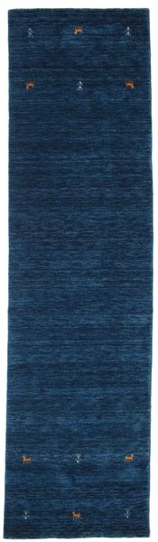 Gabbeh Loom Two Lines - Tmavě Modrý Koberec 80X300 Moderní Běhoun Tmavě Modrý (Vlna, Indie)