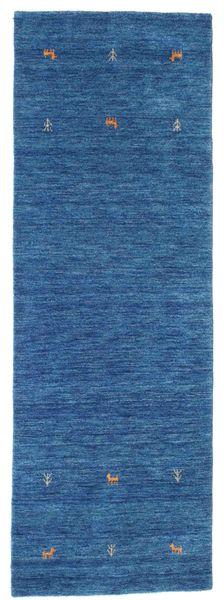 Gabbeh Loom Two Lines - Niebieski Dywan 80X250 Nowoczesny Chodnik Ciemnoniebieski/Niebieski (Wełna, Indie)