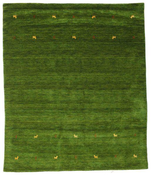 Gabbeh Loom Two Lines - Green Rug 240X290 Modern Dark Green/Olive Green (Wool, India)