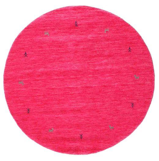 Gabbeh Loom Two Lines - Cerise Tæppe Ø 150 Moderne Rundt Rosa (Uld, Indien)