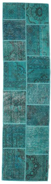 Patchwork Rug 80X302 Authentic  Modern Handknotted Hallway Runner  Dark Turquoise  /Turquoise Blue (Wool, Turkey)