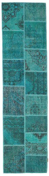 Patchwork Covor 79X300 Modern Lucrat Manual Întuneric Turquoise/Albastru Turcoaz (Lână, Turcia)