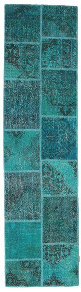 パッチワーク 絨毯 80X302 モダン 手織り 廊下 カーペット ターコイズ/ターコイズブルー (ウール, トルコ)
