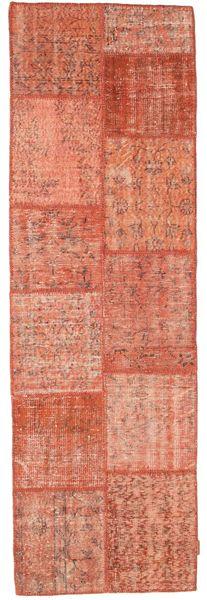 Patchwork Rug 80X251 Authentic  Modern Handknotted Hallway Runner  Light Pink/Crimson Red (Wool, Turkey)