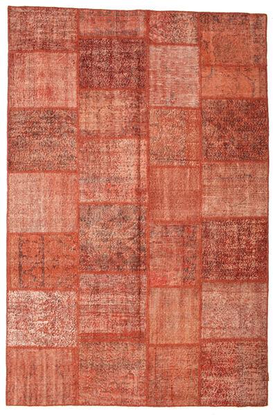 Patchwork Matto 200X302 Moderni Käsinsolmittu Ruoste/Vaaleanruskea/Vaaleanpunainen (Villa, Turkki)