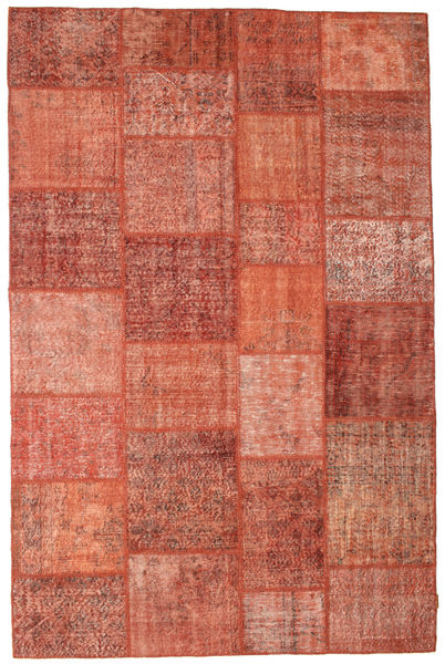 Patchwork Rug 198X302 Authentic  Modern Handknotted Crimson Red/Light Pink (Wool, Turkey)