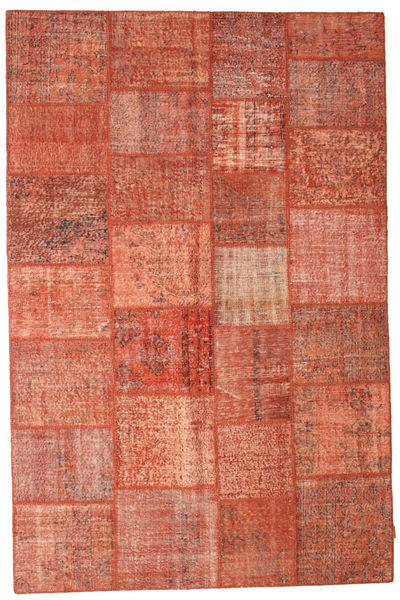 Patchwork Rug 198X301 Authentic  Modern Handknotted Crimson Red/Light Pink (Wool, Turkey)