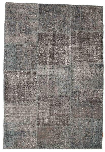 Patchwork Matto 158X230 Moderni Käsinsolmittu Tummanharmaa/Vaaleanharmaa (Villa, Turkki)