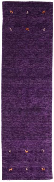 Gabbeh Loom Two Lines - Purple Rug 80X300 Modern Hallway Runner  Dark Purple (Wool, India)