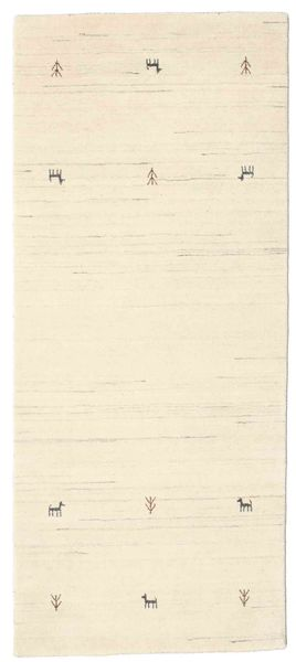 ギャッベ ルーム Two Lines - オフホワイト 絨毯 80X200 モダン 廊下 カーペット ベージュ (ウール, インド)