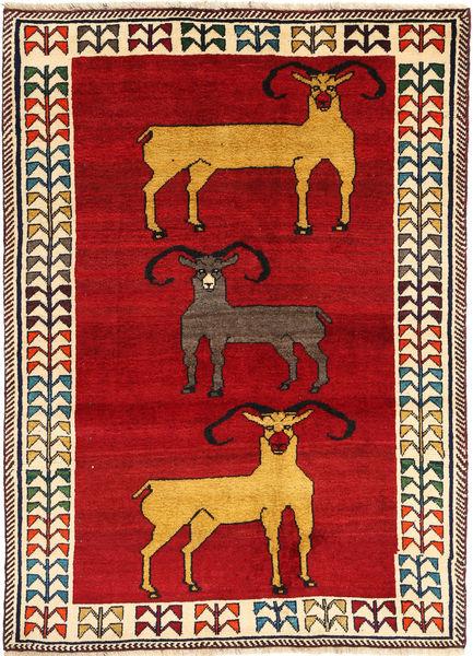 Qashqai Rug 128X180 Authentic  Oriental Handknotted Crimson Red/Beige (Wool, Persia/Iran)