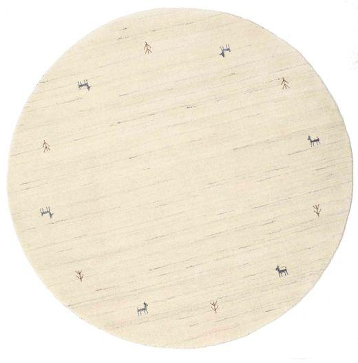 Gabbeh Loom Two Lines - Blanco Crudo Alfombra Ø 150 Moderna Redonda Beige (Lana, India)
