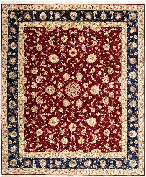Tabriz 50 Raj Tapis 250X298 D'orient Fait Main Rouge Foncé/Marron Clair Grand (Laine/Soie, Perse/Iran)