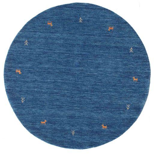 Gabbeh Loom Two Lines - Niebieski Dywan Ø 150 Nowoczesny Okrągły Ciemnoniebieski/Niebieski (Wełna, Indie)